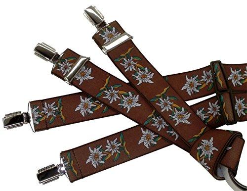 Tracht-Edelweiß-Hosenträger für Herren, Braun