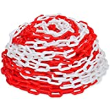 Festnight 30m Kunststoff Absperrkette 30 Meter Parkplatzsperre Kette Kunststoffkette 6mm Rot-Weiß