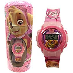 Official Paw Patrol Skye Pink Childrens Digital Wrist Watch in Money Bank Tin 56274