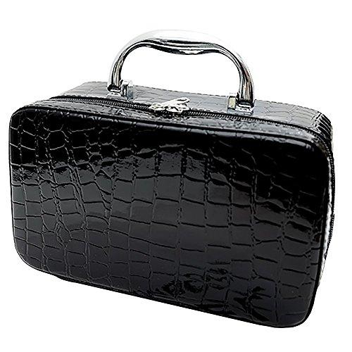 Huanger Frauen Quadratisch Kosmetiktasche Krokodil Muster Handtasche Make-up-Koffer mit Spiegel (schwarz) (Anzeige Organisieren Box Storage)