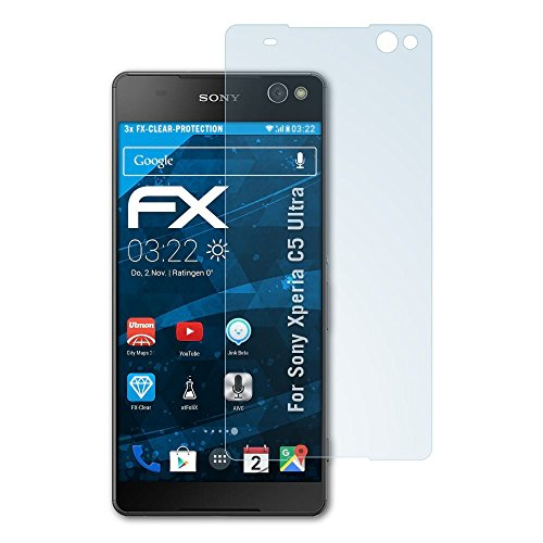 atFolix Schutzfolie kompatibel mit Sony Xperia C5 Ultra Folie, ultraklare FX Bildschirmschutzfolie (3X)