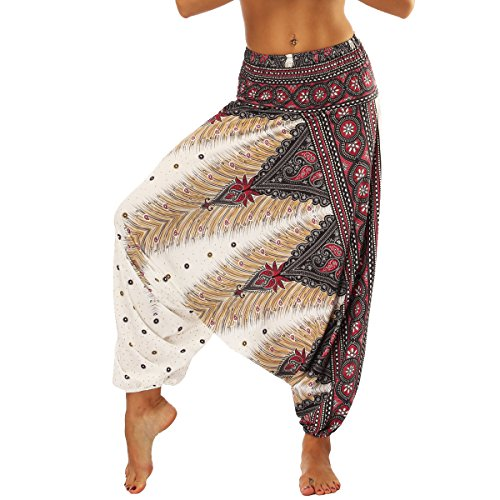 Nuofengkudu Mujer Pantalones Sueltos Hippi Tailandeses