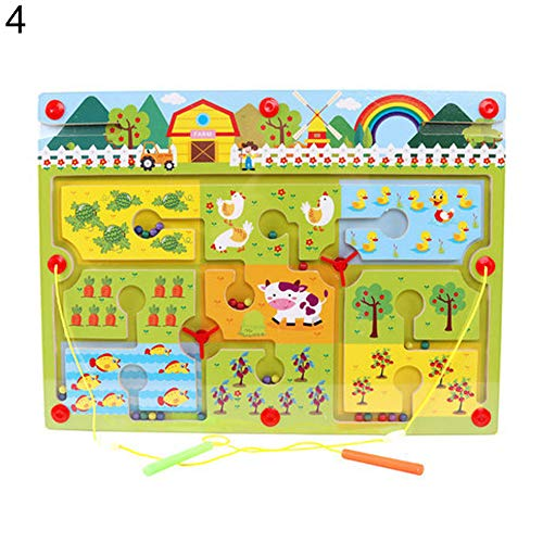 Kids Wooden Magnetic Wand Perlen Maze Labyrinth Board Track Table Education Toy