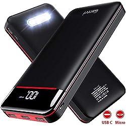 Gnceei Batterie Externe 25000mAh Power Bank Chargeur Portable Deux Entrées & 3 Ports Haute Vitesse et Technologie Digi-Power pour Smartphone Tablette PSP D'Autre USB Via Type-C & Android Device