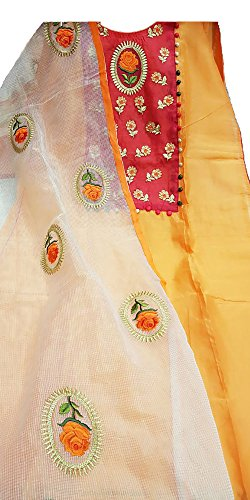 Designer Chanderi Suit with Embroidery on neck and all over duppatta -...