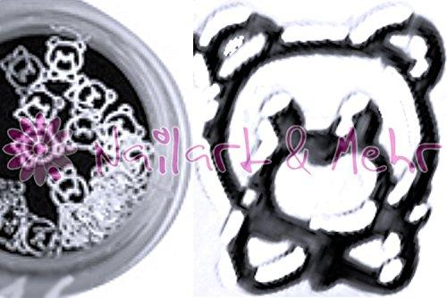 Lot de 30 brillante einleger métallisé/-Shapes dans le contenants : Teddy ours argent env. 4 mm