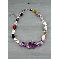 Collana in pietra dura varia (ametista, quarzo, agata striata, occhio di tigre, giada) lunghezza media 55 CM - Multicolore