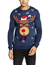 The Christmas Workshop Men's Reindeer Glasses Long Sleeve 3D Jumper
