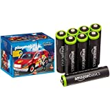 Playmobil Bomberos - Coche jefe con luces y sonidos, playset (5364) y 8 pilas recargables AAA de AmazonBasics