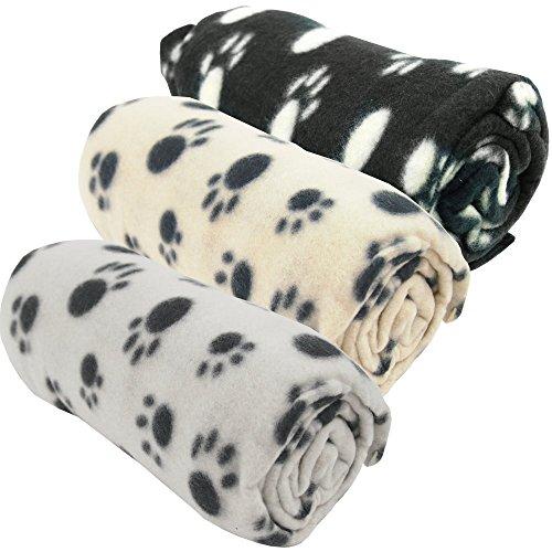 Haustierdecke Hundedecke Fleece Decke Katzendecke Tierdecke Liegedecke Pfötchen (Grau, 80 x 120)