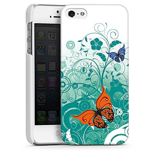 Apple iPhone 5 Housse Étui Silicone Coque Protection Papillon Fleur Fleur CasDur blanc