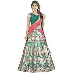Oomph! Womens Raw Silk Bridal Lehenga Choli/Semi Stitched Lehenga Party Wear/Ghagra Choli, Green