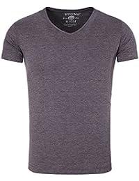 Young and Rich - T shirt homme à col v T-shirt 1702 violet - Violet