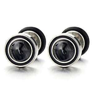 2 Boucles d'oreilles avec Noir Marbre -Homme Femme - Bouchon d'oreille Faux - Jauge d'oreille Cheater Fake - Acier