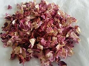 Biodégradable–Pétales de Rose séchés–Rose pastel/crème & Bordeaux/Rouge véritable 50g (pétales de fleurs de mariage Confetti) Parfum/travaux manuels