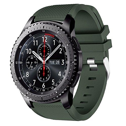 AMERTEER Samsung Gear S3 Frontier / Classic / Moto 360 2nd Gen 46mm Watch Armband - Silikon Sportarmband Uhr Band Strap Erstatzband Uhrenarmband für Samsung Gear S3 Classic...