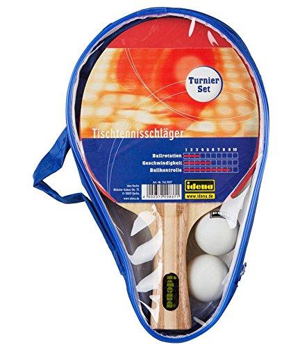 Idena Tischtennis-Set / 2 Tischtennisschläger und 2 TT-Bälle / in blauer Tasche