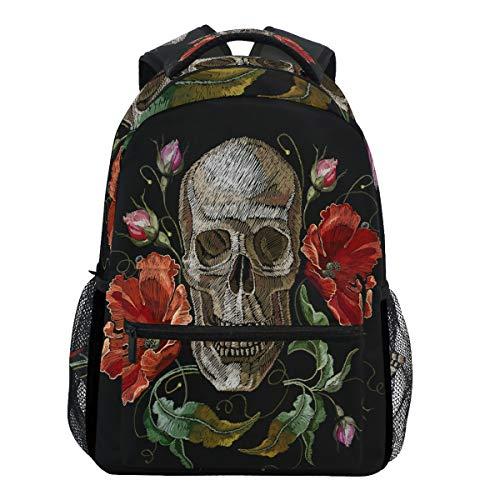 mit Totenkopf-Motiv und roten Mohnblumen, für Schule, Buch, Reisen, College ()