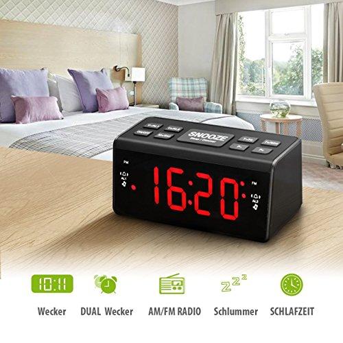 Radiowecker HoLife FM/AM Uhrenradio Digitales Uhren-Radio LED Wecker LED-Display Dual-Wecker mit Schlummerfunktion Schwarz - 2
