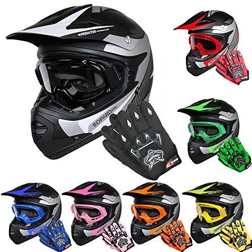 Leopard LEO-X19 *ECE 2205 Genehmigt* Kinder Motocross MX Helm Motorradhelm Crosshelm Kinderquad Off Road Enduro Sport + Handschuhe + Brille - Weiß XL (55cm)
