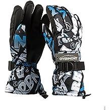 Overmont Guantes unisex de esquí impermeable térmica a prueba de agua invierno para ciclismo escalada alpinismo motociclismo senderismo acampada snowboard esquí universal