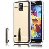 MOONCASE Galaxy S5 Funda, Slim Carcasa con Efecto Espejo Suave TPU Silicona Cubierta para Samsung Galaxy S5 (Oro)