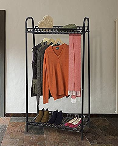 Two Tier Vintage Style Black Steel Clothes Rack with Two Storage Shelves – Perfect Clothing Shoes Bags Hats Storage for Bedrooms Closets & Boutique