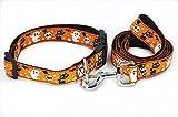 Designer-Hundehalsband und -Leinenset, Halloween-Motiv, strapazierfähig, einstellbar für kleine, mittelgroße und große Hunde, von SLZZEU