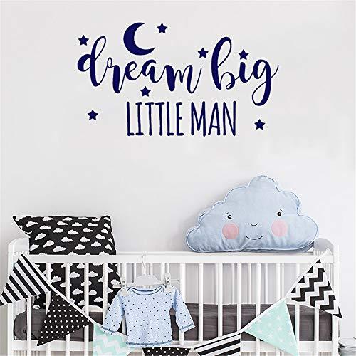 wandaufkleber 3d Wandtattoo Kinderzimmer Schlafzimmer Wandtattoo Zitate Dream Big Little Man Jungen Raumdekoration für Kinderzimmer Kinder Schlafzimmer Wohnzimmer