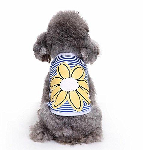 Doublehero Haustier Hund Niedliches Gestreifte Sonnenblumen Weste Pet Kleidung Sommer Baumwolle Tier Ärmelloses T-Shirts Kleidung Pet Kleidung Stripen Welpen Kostüme (S, ()