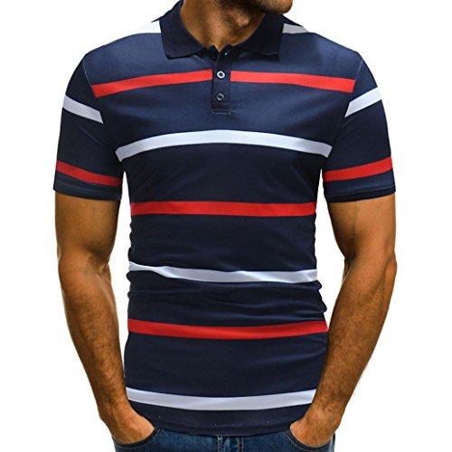 KPILP Cool Mens Shirt Striped Pattern Button-Down Collar Polo Shirt