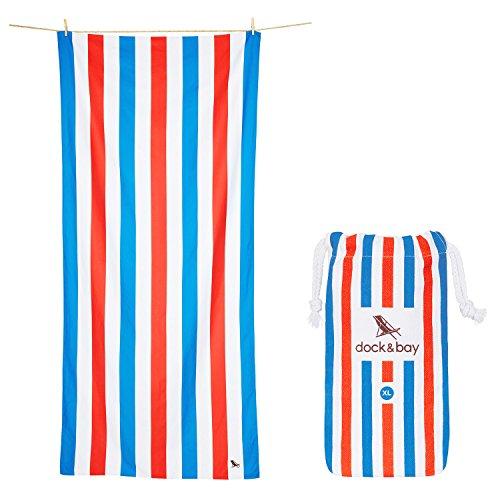 Mikrofaser Handtücher - Strand & Reise (Blau & Rot - Extra Groß 200x90cm) - Strandtuch, Badetücher, Leight und Sand Frei (Marine-blau-strand-badetuch)