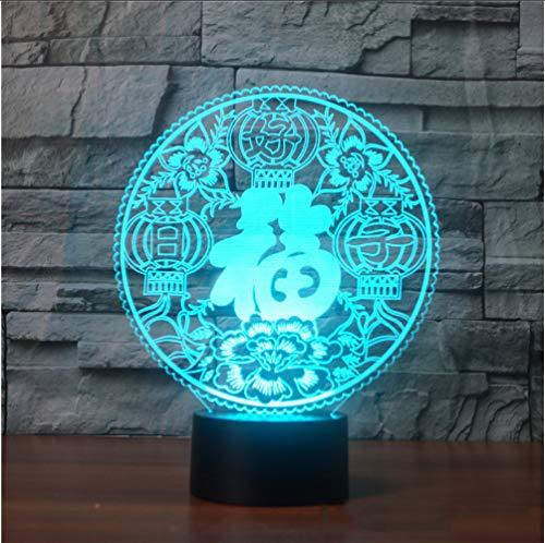 Zlxzlx 3DLed Bunte Nachtlicht Chinesische Papier-Cut Fu Tischlampe Usb Schlaf Beleuchtung Segen Neues Jahr Geschenke Dekor Leuchte