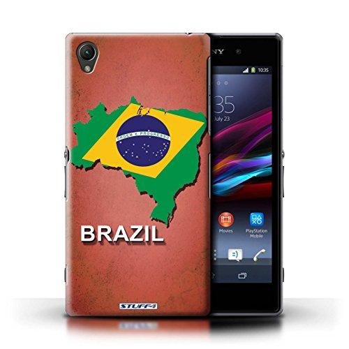Kobalt® Imprimé Etui / Coque pour Sony Xperia Z1 / Amérique/Américain/USA conception / Série Drapeau Pays Brésil