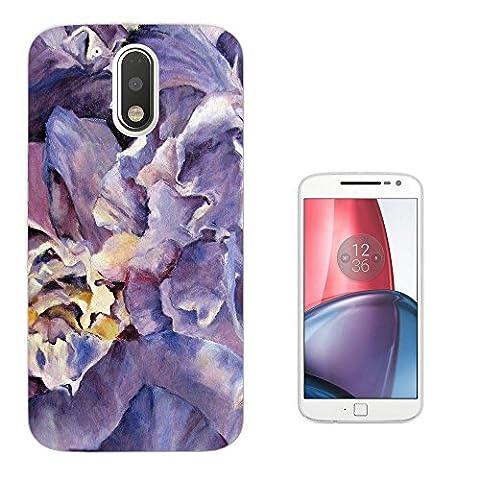 002923 - Purple Floral Roses flowers Petals Waves Effect Design Motorola Moto G4 Fashion Trend Silikon Hülle Schutzhülle Schutzcase Gel Rubber Silicone Hülle