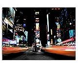 KD Dsign+ Echtes Glasbild AG5705000448 DEKO 70 x 50 cm Times SQARE Lights / 4mm Starkes behandeltes Sicherheitsglas mit Abstandshalter für TOLLE TIEFENWIRKUNG/WANDBILD inkl. montiertem Aufhänger