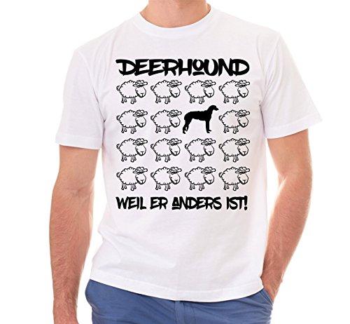 Siviwonder Unisex T-Shirt BLACK SHEEP - DEERHOUND - Hunde Fun Schaf Weiß