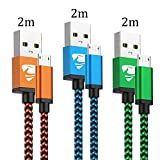 Cable Micro USB Carga Rápida Aioneus Cargador Android 3-Pack 2M Cable Android Nylon Movil Cables Cargador...