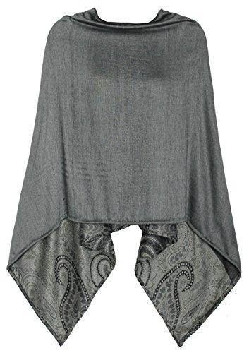 Eleganter Poncho / Cape für Damen weich, leicht, chic - Poncho Damen - WJ036 (WJ036-Edelgrau)