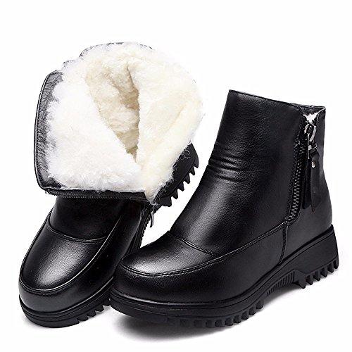 Hxvu56546 Hiver Femmes Bottes En Coton Bottes Martin Bottes Warmer Coton Velours Bottes Chaussures Noir
