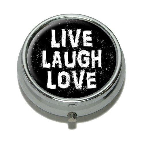 Live Laugh Love Distressed Inspirierende Pille Fall Schmuckkästchen Geschenk-Box (Aufklappbaren Gehäuse-deckel)