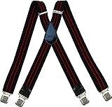 Tirantes Hombre X-Forma Elásticos Ancho 40 mm con clips extra fuerte totalmente adjustable todos los colores (Negro Rojo)