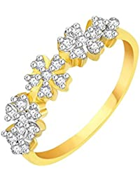 Vidhi Jewels Gold Plated Flower Design Diamond Studded Alloy & Brass Ring For Women And Girls [VFR107G]