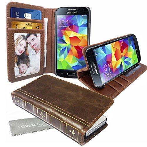 Stylebitz / Klassische Vintage-Lederhülle in Buchoptik BRAUN PU mit Standfuß für Samsung Galaxy S5 / I9600 inklusive Stylebitz Reinigungstuch