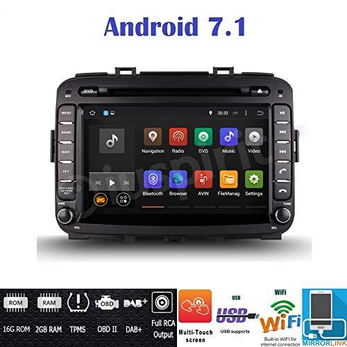 ANDROID 7.1 GPS DVD USB SD WI-FI DAB+ TPMS Bluetooth autoradio 2 DIN navigatore Kia Carens 2013 2014 2015 2016 2017 2018