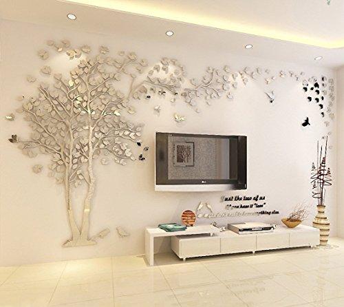 Schlafzimmer Spiegel (DIY 3D Riesiger Baum Paar Wandtattoos Wandaufkleber Kristall Acryl Malen Wanddeko Wandkunst (XL, Silber, Recht))