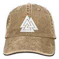 Qian Mu888 Valknut Viking Age Symbol Norse Warrior Unisex Adult Adjustable Retro Dad Hats