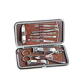 Aznoi 12-teiliges Maniküre - Pediküre - Nagelpflege-Set / Etui, Nagelpflege-Set aus Edelstahl für Maniküre-Nagel, tägliche Pflege und Reise.