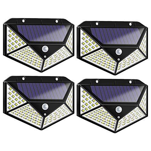 Solarleuchte für Außen 100 LED Solarlampen Außen mit 270° Weitwinkelbeleuchtung IP65 Wasserdichte 3 Modi Solarleuchten Garten【4 Stück】