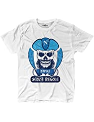 Camiseta camiseta hombre fútbol pirata Tifosi Napoli ultras Fans Sport sin REGOL, blanco